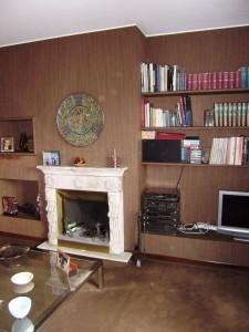 Dettaglio parete salone e caminetto