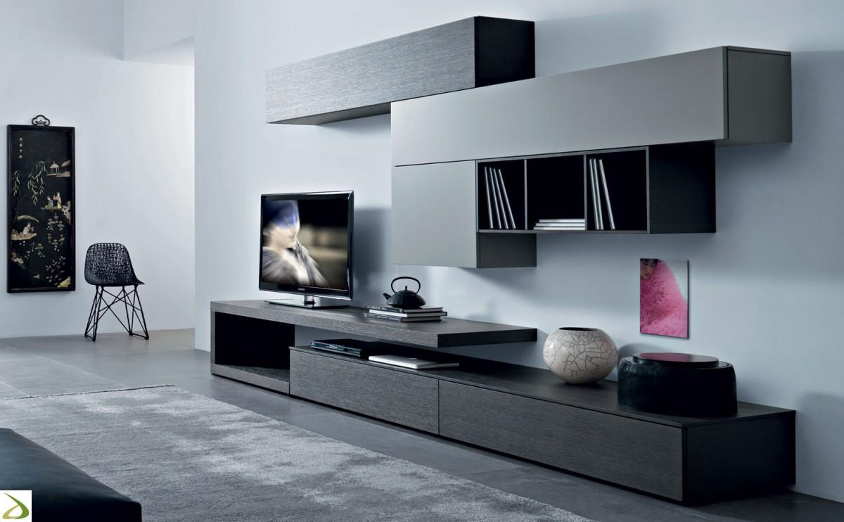 Come arredare la parete soggiorno in stile moderno e - Parete di legno ...