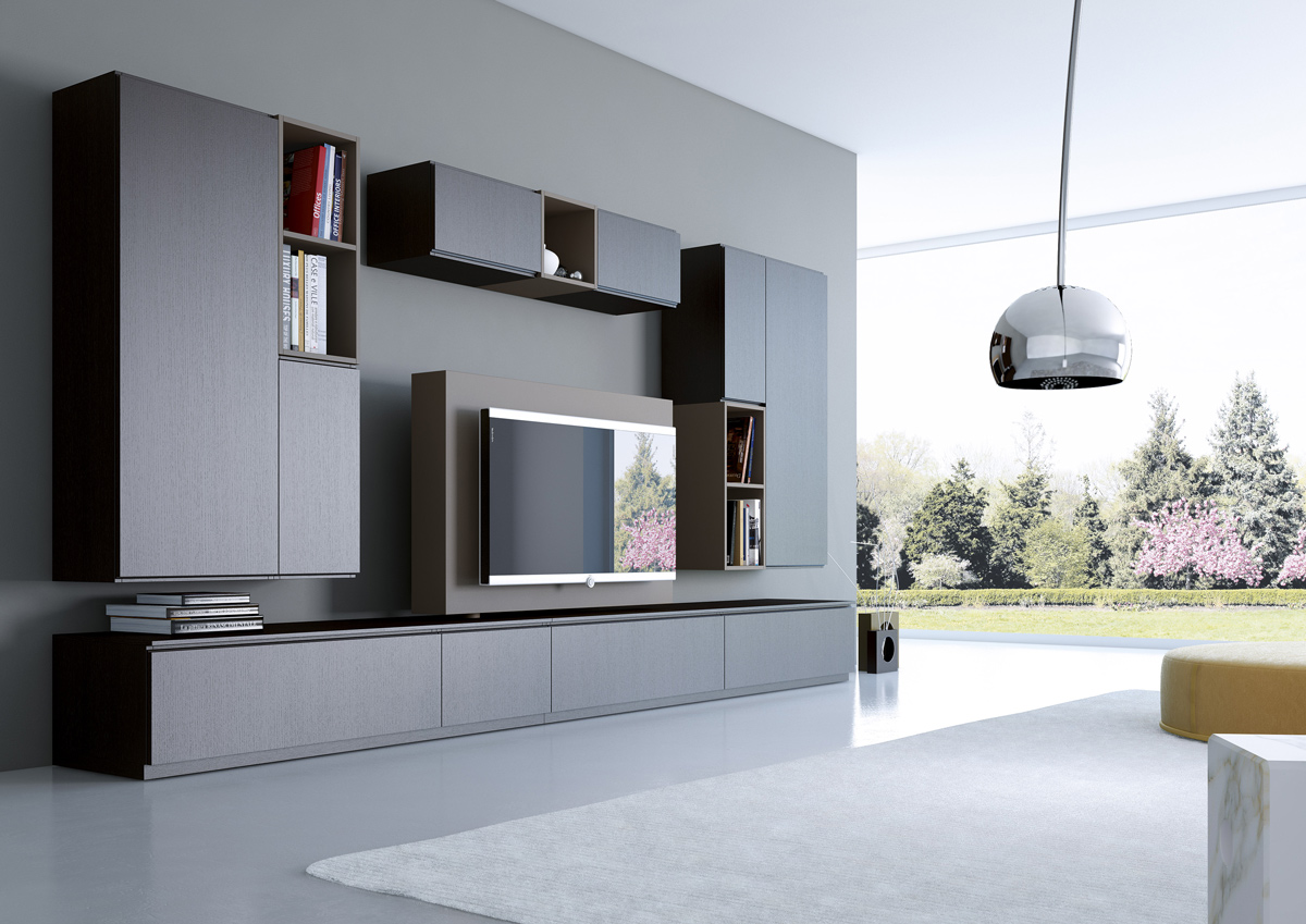 Come arredare la parete soggiorno in stile moderno e for Mobili per soggiorno